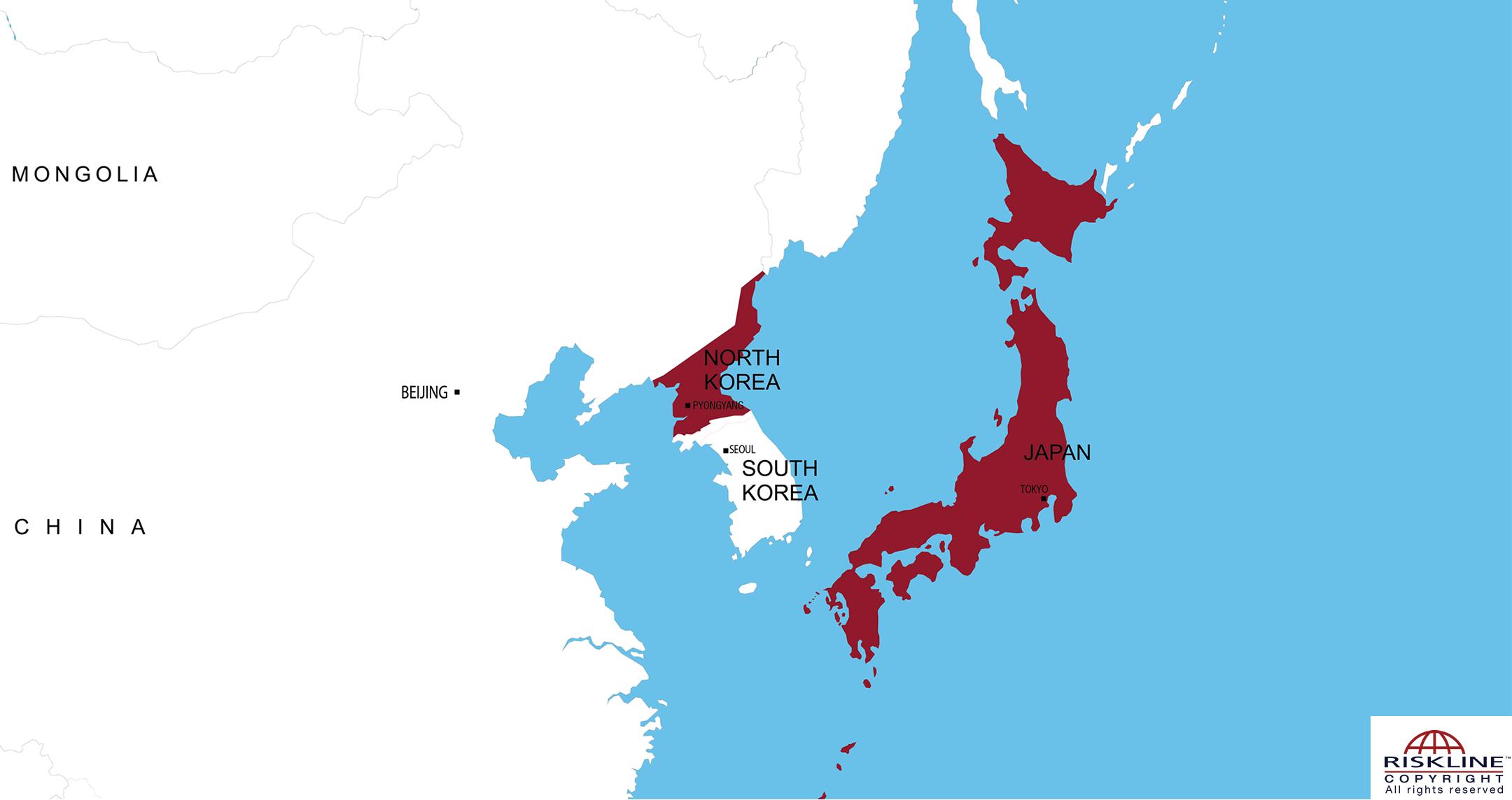 Map Of Asia Korean Peninsula.Riskline Travel Risk Information